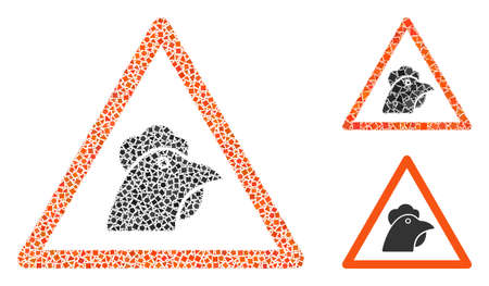 Mosaic Chicken warning icon organized from inequal spots in variable sizes, positions and proportions. Vector unequal spots are organized into abstract mosaic chicken warning icon. 矢量图像