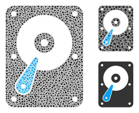 Mosaic Hard disk icon constructed from raggy items in different sizes, positions and proportions. Vector trembly items are composed into abstract mosaic hard disk icon.