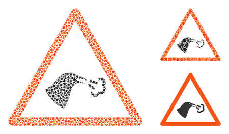 Mosaic Bird flu warning icon constructed from bumpy items in different sizes, positions and proportions. Vector bumpy spots are organized into abstract mosaic bird flu warning icon. 免版税图像 - 147204294