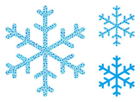 Mosaic Snowflake icon composed of humpy spots in random sizes, positions and proportions. Vector abrupt spots are arranged into abstract composition snowflake icon.