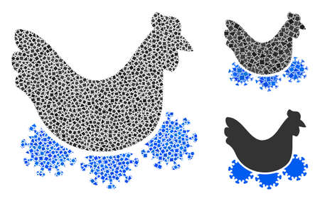 Collage Chicken virus icon composed of trembly pieces in various sizes, positions and proportions. Vector bumpy pieces are grouped into abstract collage chicken virus icon.