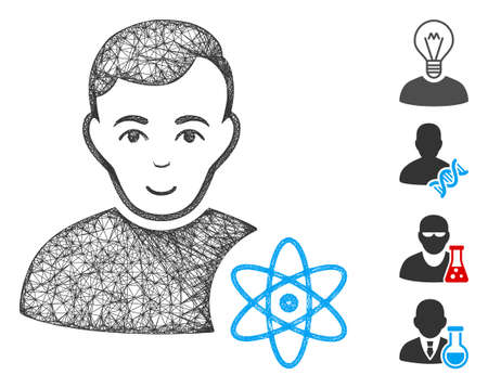 Mesh atomic scientist web icon vector illustration. Carcass model is based on atomic scientist flat icon. Net forms abstract atomic scientist flat model.