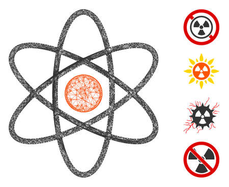 Mesh atom web icon vector illustration. Model is based on atom flat icon. Network forms abstract atom flat model. Wire frame flat web network isolated on a white background. Bonus icons are added.