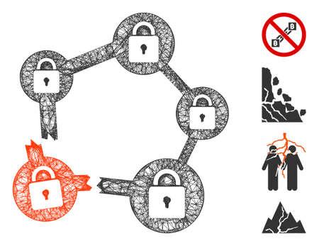 Mesh broken blockchain network web icon vector illustration. Model is created from broken blockchain network flat icon. Network forms abstract broken blockchain network flat carcass.