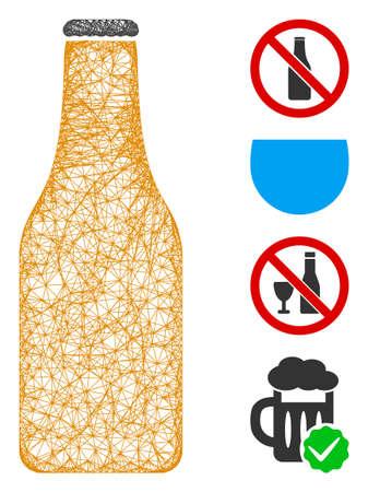 Mesh beer bottle web symbol vector illustration. Model is based on beer bottle flat icon. Network forms abstract beer bottle flat model. wireframe flat web network isolated on a white background. 向量圖像