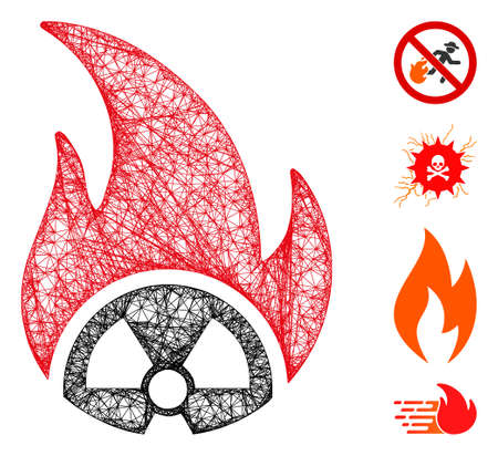 Mesh atomic fire web 2d vector illustration. Model is based on atomic fire flat icon. Network forms abstract atomic fire flat model. wireframe flat web network isolated on a white background.