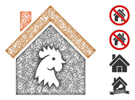 Mesh cock house web icon vector illustration. Model is based on cock house flat icon. Mesh forms abstract cock house flat model. Wire frame 2D web network isolated on a white background.