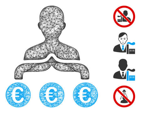 Mesh Euro capitalist web 2d vector illustration. Carcass model is created from Euro capitalist flat icon. Mesh forms abstract Euro capitalist flat carcass. Illustration