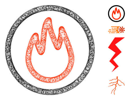 Mesh fire web icon vector illustration. Abstraction is based on fire flat icon. Mesh forms abstract fire flat carcass. wireframe flat web network isolated on a white background.