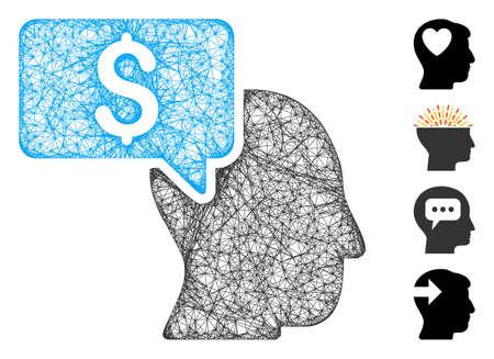Mesh businessman idea web icon vector illustration. Carcass model is based on businessman idea flat icon. Network forms abstract businessman idea flat carcass.