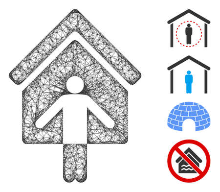 Mesh house owner wellcome web icon vector illustration. Carcass model is based on house owner wellcome flat icon. Mesh forms abstract house owner wellcome flat model.