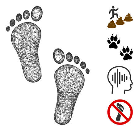 Mesh human steps web 2d vector illustration. Carcass model is based on human steps flat icon. Mesh forms abstract human steps flat carcass. Wire frame flat web network isolated on a white background.