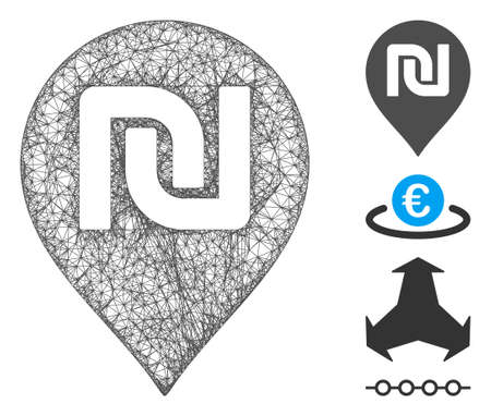 Mesh shekel map marker web icon vector illustration. Carcass model is based on shekel map marker flat icon. Network forms abstract shekel map marker flat carcass.