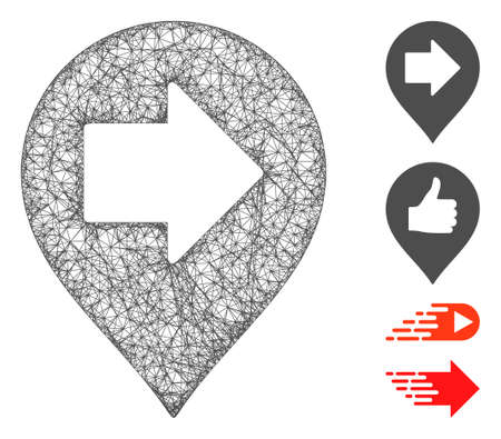 Mesh right arrow marker web symbol vector illustration. Carcass model is based on right arrow marker flat icon. Mesh forms abstract right arrow marker flat carcass.