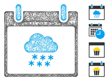 Mesh snow cloud calendar day web 2d vector illustration. Carcass model is based on snow cloud calendar day flat icon. Net forms abstract snow cloud calendar day flat model. Vectores
