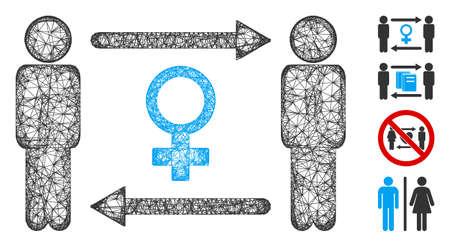 Mesh swingers exchange female web icon vector illustration. Abstraction is based on swingers exchange female flat icon. Network forms abstract swingers exchange female flat model.