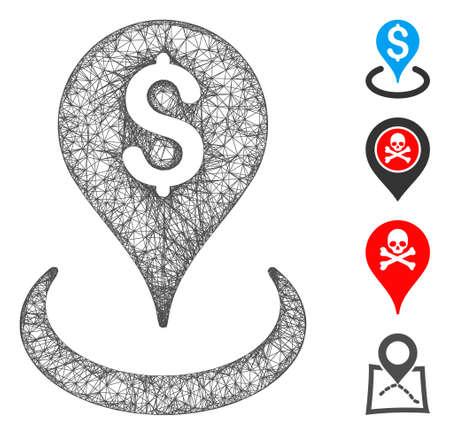 Mesh geo targeting web icon vector illustration. Carcass model is based on geo targeting flat icon. Mesh forms abstract geo targeting flat carcass. Ilustracja