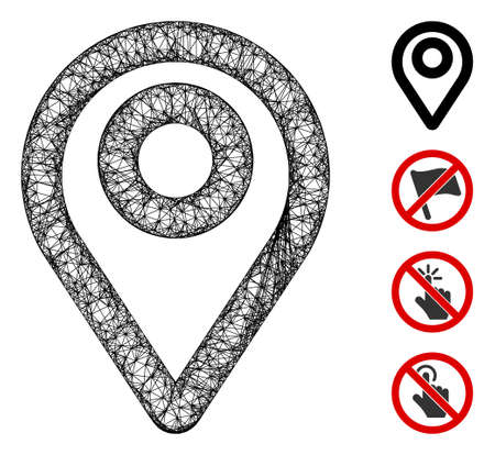 Mesh map pointer web icon vector illustration. Model is based on map pointer flat icon. Network forms abstract map pointer flat model. Wire frame 2D web network isolated on a white background.