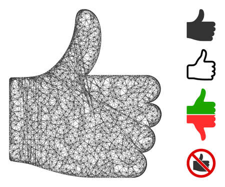 Mesh thumb up web icon vector illustration. Carcass model is based on thumb up flat icon. Net forms abstract thumb up flat carcass. Wire frame 2D web network isolated on a white background.