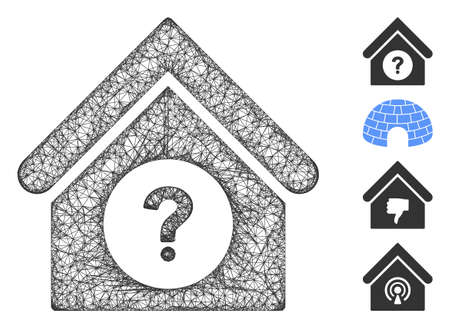 Mesh status building web icon vector illustration. Model is based on status building flat icon. Network forms abstract status building flat model.