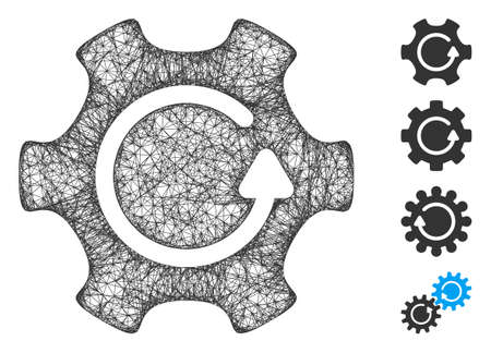 Mesh rotate gear web icon vector illustration. Carcass model is created from rotate gear flat icon. Mesh forms abstract rotate gear flat model.