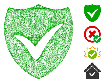 Mesh shield valid web 2d vector illustration. Model is based on shield valid flat icon. Mesh forms abstract shield valid flat model. wireframe 2D web network isolated on a white background.