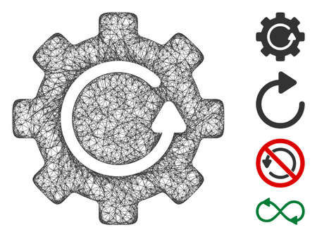 Mesh gear rotation web 2d vector illustration. Carcass model is based on gear rotation flat icon. Network forms abstract gear rotation flat carcass.