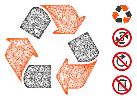 Mesh recycle web icon vector illustration. Carcass model is based on recycle flat icon. Mesh forms abstract recycle flat model. Wire frame flat line network isolated on a white background.