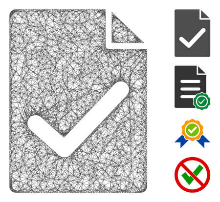 Mesh valid agreement page web 2d vector illustration. Carcass model is based on valid agreement page flat icon. Mesh forms abstract valid agreement page flat model.