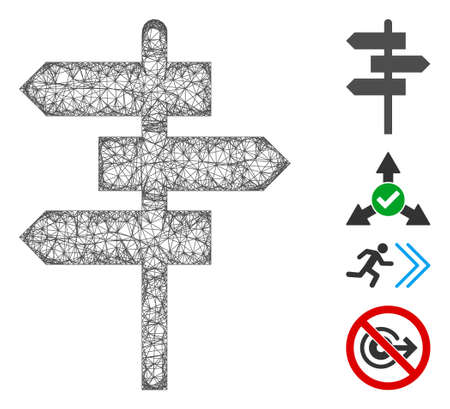 Mesh way pointer web icon vector illustration. Carcass model is based on way pointer flat icon. Network forms abstract way pointer flat model.