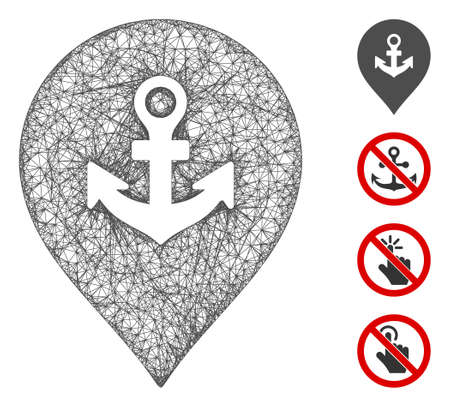 Mesh sea port marker web 2d vector illustration. Carcass model is based on sea port marker flat icon. Mesh forms abstract sea port marker flat carcass. Ilustracja