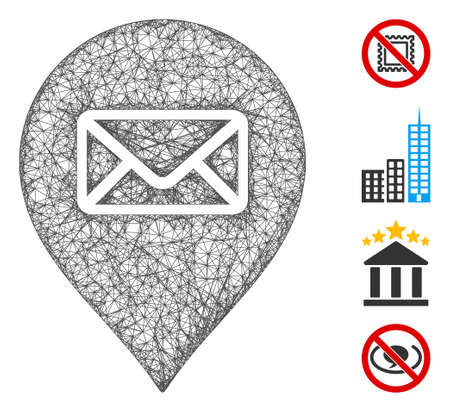 Mesh post office marker web symbol vector illustration. Abstraction is based on post office marker flat icon. Mesh forms abstract post office marker flat carcass. Ilustracja