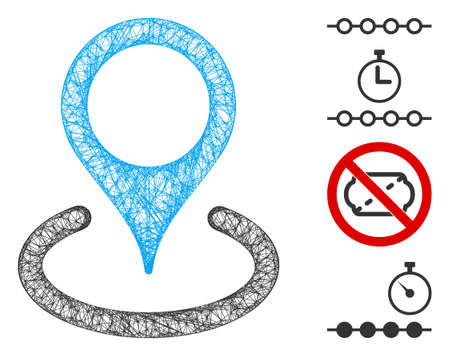 Mesh place marker web icon vector illustration. Carcass model is based on place marker flat icon. Mesh forms abstract place marker flat carcass.