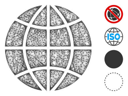 Mesh planet globe web icon vector illustration. Carcass model is based on planet globe flat icon. Network forms abstract planet globe flat model. Иллюстрация