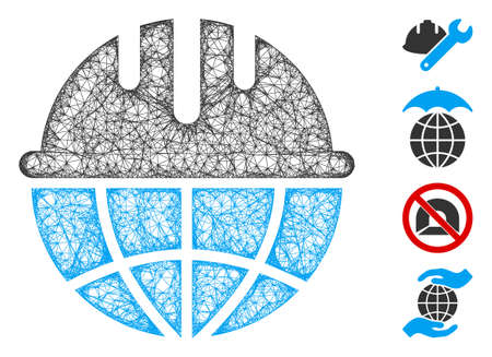 Mesh global safety helmet web icon vector illustration. Model is based on global safety helmet flat icon. Network forms abstract global safety helmet flat model.