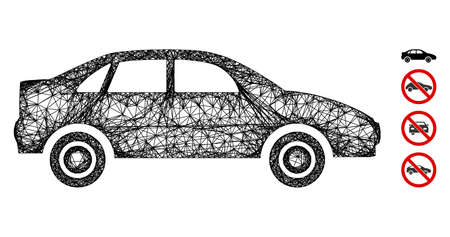Mesh sedan car web icon vector illustration. Carcass model is created from sedan car flat icon. Mesh forms abstract sedan car flat carcass. Wire frame flat web network isolated on a white background. Vettoriali