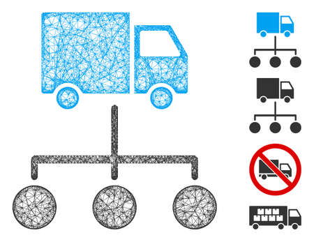 Mesh truck distribution links web icon vector illustration. Carcass model is created from truck distribution links flat icon. Mesh forms abstract truck distribution links flat model. Vettoriali
