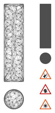 Mesh exclamation sign web 2d vector illustration. Carcass model is based on exclamation sign flat icon. Network forms abstract exclamation sign flat model.