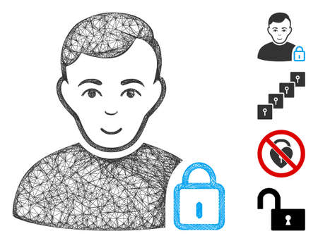 Mesh user lock web symbol vector illustration. Model is based on user lock flat icon. Network forms abstract user lock flat model. wireframe flat web network isolated on a white background.