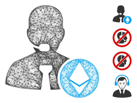 Mesh Ethereum operator manager web icon vector illustration. Carcass model is based on Ethereum operator manager flat icon. Mesh forms abstract Ethereum operator manager flat carcass.