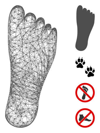 Mesh foot web icon vector illustration. Model is based on foot flat icon. Mesh forms abstract foot flat carcass. Wire frame 2D web network isolated on a white background. Bonus icons are added. Illustration