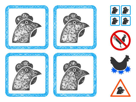 Mesh chicken factory web icon vector illustration. Carcass model is based on chicken factory flat icon. Net forms abstract chicken factory flat carcass.
