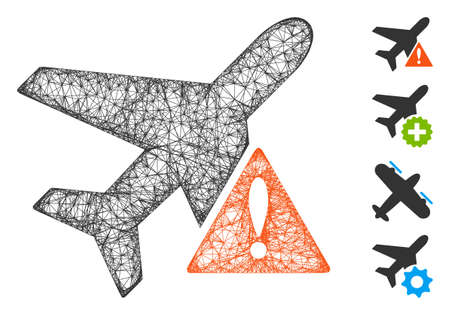 Mesh airplane error web 2d vector illustration. Carcass model is created from airplane error flat icon. Network forms abstract airplane error flat model.
