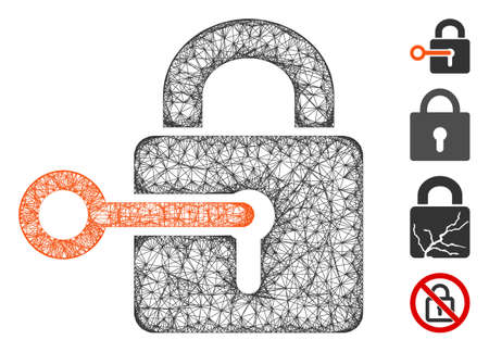 Mesh secrecy web icon vector illustration. Model is based on secrecy flat icon. Mesh forms abstract secrecy flat model. wireframe 2D web network isolated on a white background. Ilustração