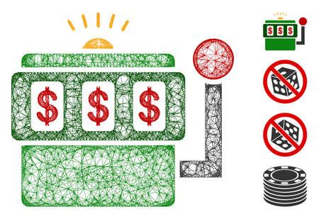 Mesh slot machine web icon vector illustration. Carcass model is based on slot machine flat icon. Network forms abstract slot machine flat model.