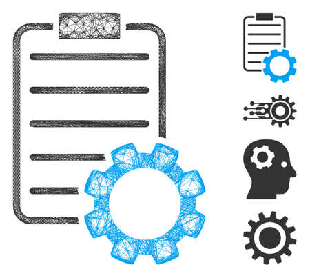 Mesh smart contract gear web symbol vector illustration. Abstraction is based on smart contract gear flat icon. Mesh forms abstract smart contract gear flat carcass. Çizim
