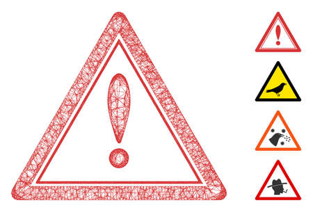 Mesh warning triangle web icon vector illustration. Abstraction is based on warning triangle flat icon. Network forms abstract warning triangle flat model.