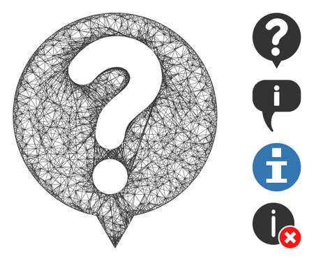 Mesh status balloon web icon vector illustration. Carcass model is based on status balloon flat icon. Mesh forms abstract status balloon flat carcass.