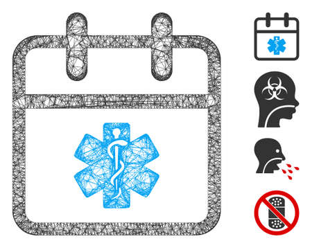 Mesh health care day web icon vector illustration. Carcass model is based on health care day flat icon. Network forms abstract health care day flat carcass.