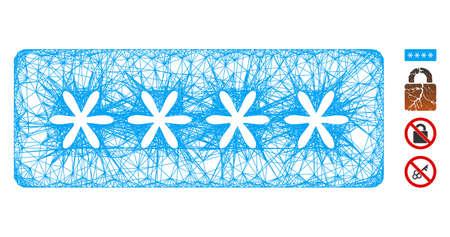 Mesh password stars web icon vector illustration. Carcass model is based on password stars flat icon. Network forms abstract password stars flat carcass. Ilustração